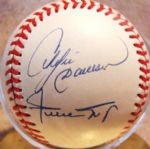 WILLIE MAYS & ANDRE DAWSON 300 HRS 300 SBs 2000 HITS SIGNED BASEBALL w/JSA LOA