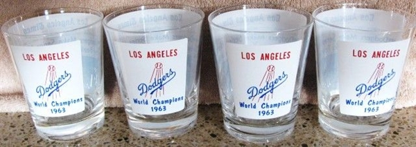 SET OF (4) 1963 LOS ANGELES DODGERS WORLD CHAMPIONS DRINKING GLASSES