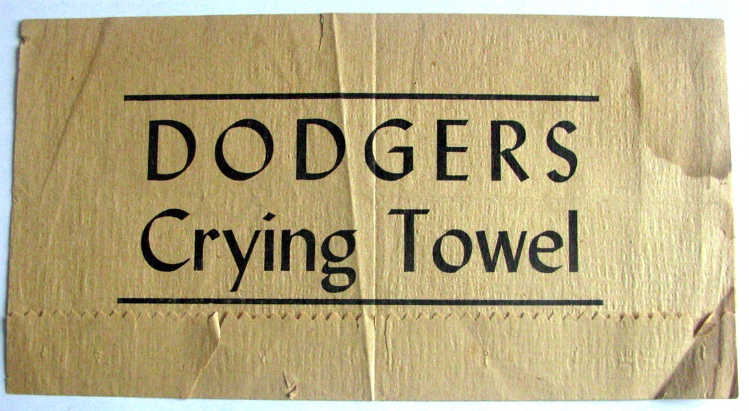 VINTAGE BROOKLYN DODGERS CRYING TOWEL