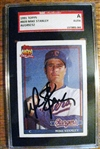 MIKE STANLEY - RANGERS SIGNED BASEBALL CARD - SGC SLABBED & AUTHENTICATED