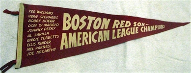 "40s BOSTON RED SOX ""AMERICAN LEAGUE CHAMPIONS"" FULL SIZE PENNANT"