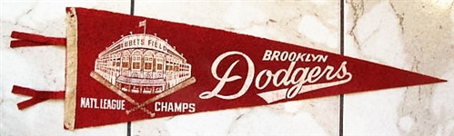 1950s BROOKLYN DODGERS NATIONAL LEAGUE CHAMPS 3/4 SIZE PENNANT