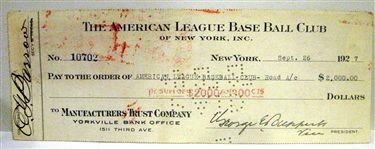 1927 NEW YORK YANKEES CHECK SIGNED BY ED BARROW & GEORGE RUPPERT w/JSA COA