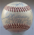 1957 AMERICAN LEAGUE ALL-STAR BASEBALL - 25 SIGNATURES w/ MANTLE & WILLIAMS- CAS LOA