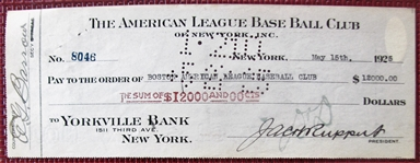 1925 NEW YORK YANKEES CHECK SIGNED BY ED BARROW & GEORGE RUPPERT w/JSA COA