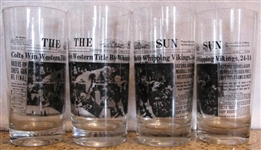 1968 SET OF( 4) BALTIMORE COLTS WIN WESTERN TITLE GLASSES