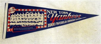"1960 NEW YORK YANKEES TEAM PHOTO ""WORLD SERIES"" PENNANT"