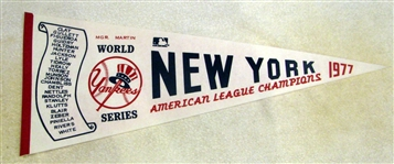 "1977 NEW YORK YANKEES ""WORLD SERIES"" PENNANT"