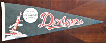 60s LOS ANGELES DODGERS FULL SIZE PENNANT