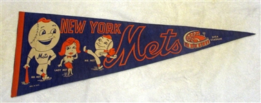 60s NEW YORK METS PENNANT w/MR. & LADY MET