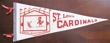 "60s ST LOUIS CARDINALS ""NATIONAL LEAGUE CHAMPIONS"" FULL SIZE PENNANT"