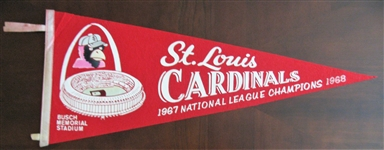 "1967 & 68 ST LOUIS CARDINALS ""NATIONAL LEAGUE CHAMPIONS"" FULL SIZE PENNANT"