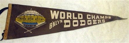 "1955 BROOKLYN DODGERS ""WORLD CHAMPIONS"" PENNANT"