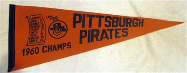 "1960 PITTSBURGH PIRATES ""CHAMPS""  PENNANT- SUPER RARE!"