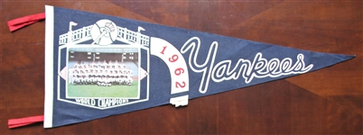 1962 NY YANKS WORLD CHAMPIONS TEAM PICTURE PENNANT