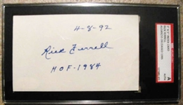 RICK FERRELL HOF 1984 SIGNED 3X5 INDEX CARD - SGC SLABBED & AUTHENTICATED