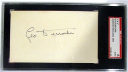 LEO DUROCHER SIGNED INDEX CARD - SGC SLABBED AND AUTHENTICATED