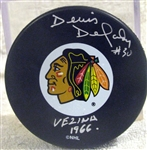 "DENIS DEJORDY SIGNED ""CHICAGO BLACK HAWKS"" PUCK w/SGC COA"