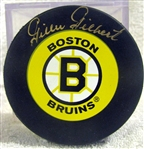 "GILLES GILBERT SIGNED ""BOSTON BRUINS"" PUCK w/JSA COA"
