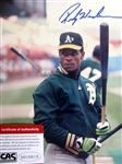 "RICKEY HENDERSON SIGNED 8"" x 10"" PHOTO w/CAS COA"