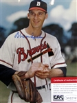 "WARREN SPAHN SIGNED 8"" x 10"" PHOTO w/CAS COA"