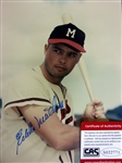 "EDDIE MATHEWS SIGNED 8"" x 10"" PHOTO w/CAS COA"