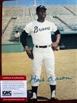 "HANK AARON SIGNED 8"" x 10"" PHOTO w/CAS COA"