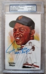WILLIE MAYS SIGNED PEREZ STEELE CARD PSA SLABBED & AUTHENTICATED