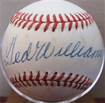 TED WILLIAMS SINGLE SIGNED BASEBALL w/CAS LOA