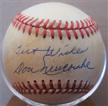 "DON NEWCOMBE ""BEST WISHES"" SIGNED BASEBALL w/CAS COA"