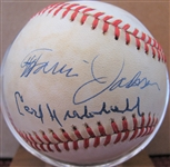 CARL HUBBELL - TRAVIS JACKSON - BILL TERRY SIGNED BASEBALL w/CAS COA