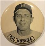 "60s GIL HODGES ""N.Y. METS"" LARGE-SIZED PIN"