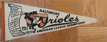 "1971 BALTIMORE ORIOLES ""WORLD SERIES"" PENNANT"