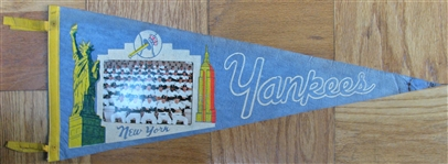 "1968 NEW YORK YANKEES ""PHOTO"" PENNANT - MANTLES LAST YEAR"