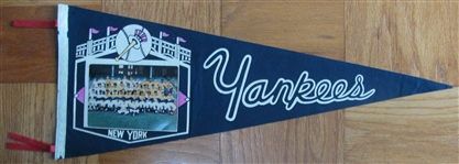 "1963 NEW YORK YANKEES ""PHOTO"" PENNANT"