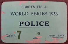 1956 WORLD SERIES EBBETS FIELD POLICE PASS GAME #7