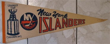 "80s NEW YORK ISLANDERS ""STANLEY CUP CHAMPIONS"" PENNANT"