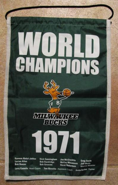 Lot Detail - 1971 MILWAUKEE BUCKS WORLD CHAMPIONS BANNER w ...
